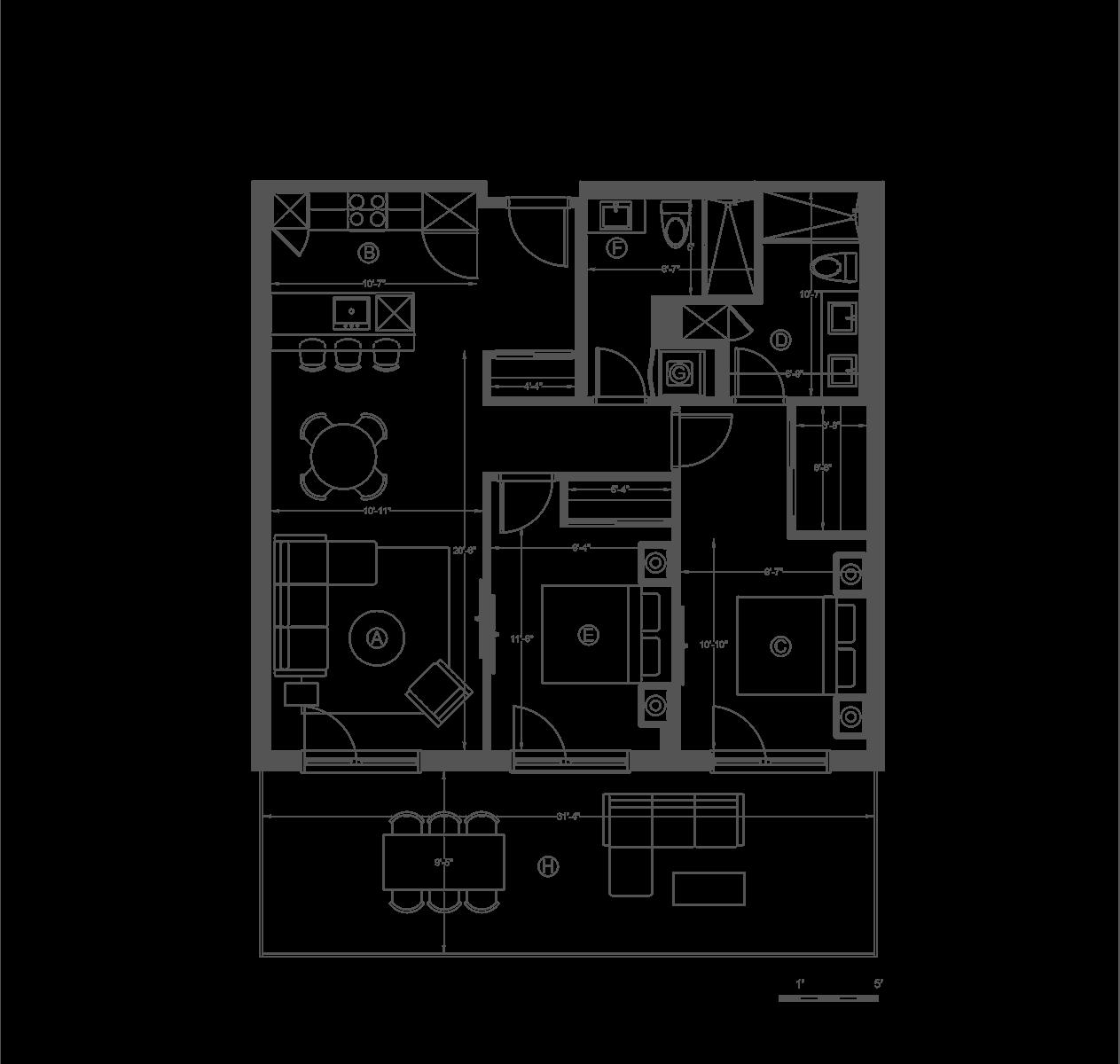 plan 304 chambre cuisine terrasse